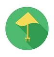 Yellow beach umbrella icon flat style vector image