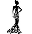 young woman in dress with floral ornament vector image vector image