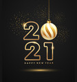 2021 happy new year gold ball and gold firework vector image