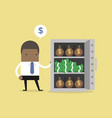 african businessman with a lot money in safe vector image