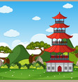 background scene with building in chinese style vector image