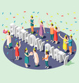 birthday party isometric design concept vector image vector image