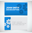 business card print template with gears logo easy vector image vector image