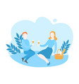 cartoon couple on romantic picnic in park vector image vector image