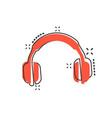 cartoon headphone icon in comic style earphone vector image