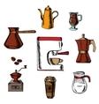 coffee icons around coffee machine vector image vector image