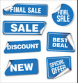 collection of blue sale stickers with rounded vector image