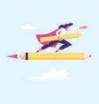 female superhero in red cloak super employee girl vector image vector image