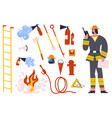 firefighter fireman character with fire fighting vector image