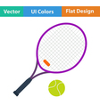 Flat design icon of Tennis rocket and ball vector image