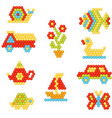 flat set of objects made of colorful vector image vector image