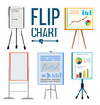 flip chart set office whiteboard vector image vector image