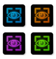 glowing neon eye scan icon isolated on white vector image vector image