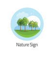 green nature landscape icon or round logo vector image