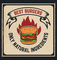 grilled burger poster hamburger on grunge vector image
