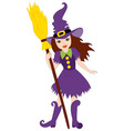 Halloween Witch with Broomstick vector image vector image