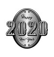 happy new year 2020 retro style emblem vector image