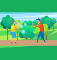 happy pensioners senior people with soap bubbles vector image vector image