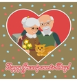 Happy senior man woman family with cat Greeting vector image