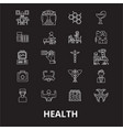 health editable line icons set on black vector image vector image