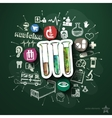 Healthcare collage with icons on blackboard vector image