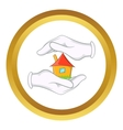 House in hands icon vector image vector image