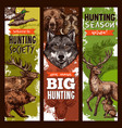 hunt club hunting sketch banners vector image vector image