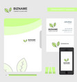 leafs business logo file cover visiting card and vector image vector image