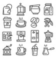 line coffee icons set vector image