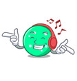 listening music circle mascot cartoon style vector image