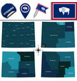 map of wyoming with regions vector image vector image