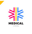 medic cross icon pharmacy logo template corporate vector image