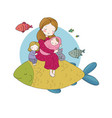 mom with a baand daughter and a big magic fish vector image vector image