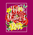 mother day flower with butterfly greeting card vector image vector image
