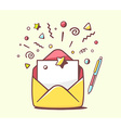 opened yellow envelope with pen and stars vector image