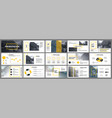 presentation template yellow elements for slide vector image vector image