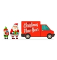 Red delivery van with shadow and cardboard boxes vector image vector image