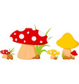 red mushroom with grass vector image vector image