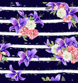 rose and violet lily seamless pattern vector image vector image