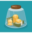 save money concept glass pot design icon vector image