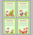 set of cards with happy santa and ridiculous elf vector image vector image