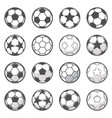 set of sixteen monochrome soccer balls football vector image vector image