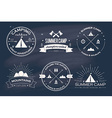 set vintage summer camp badges and other vector image
