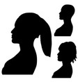silhouettes of womens heads side shot isolated on vector image