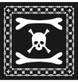 Skull and bones pattern brush with corner vector image vector image