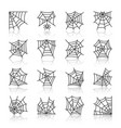 spider web black line icon set with reflection vector image vector image