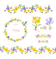 spring floral collection seamless border and cute vector image vector image