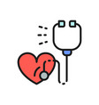 stethoscope with heart heartbeat healthcare flat vector image
