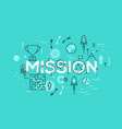 thin line flat design banner of business mission vector image vector image
