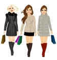 three young fashion women in autumn clothes vector image vector image